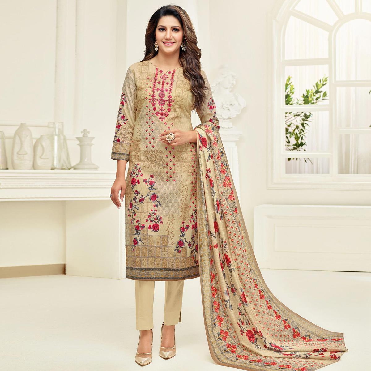 Lovely Beige Colored Casual Printed Cotton Dress Material