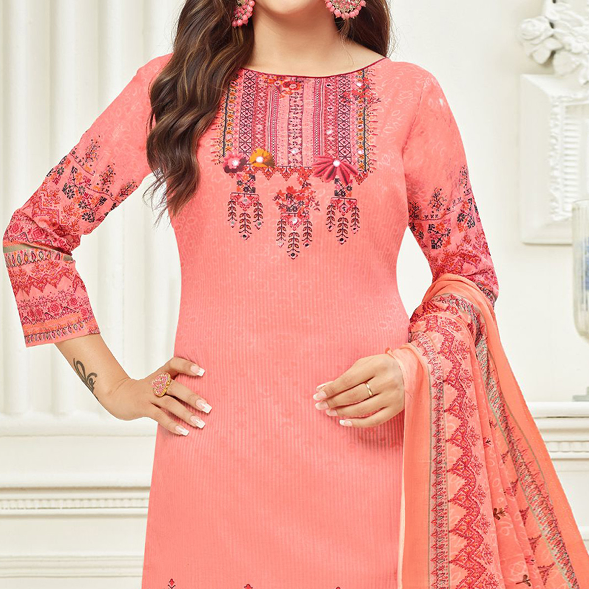 Impressive Pink Colored Casual Printed Cotton Dress Material