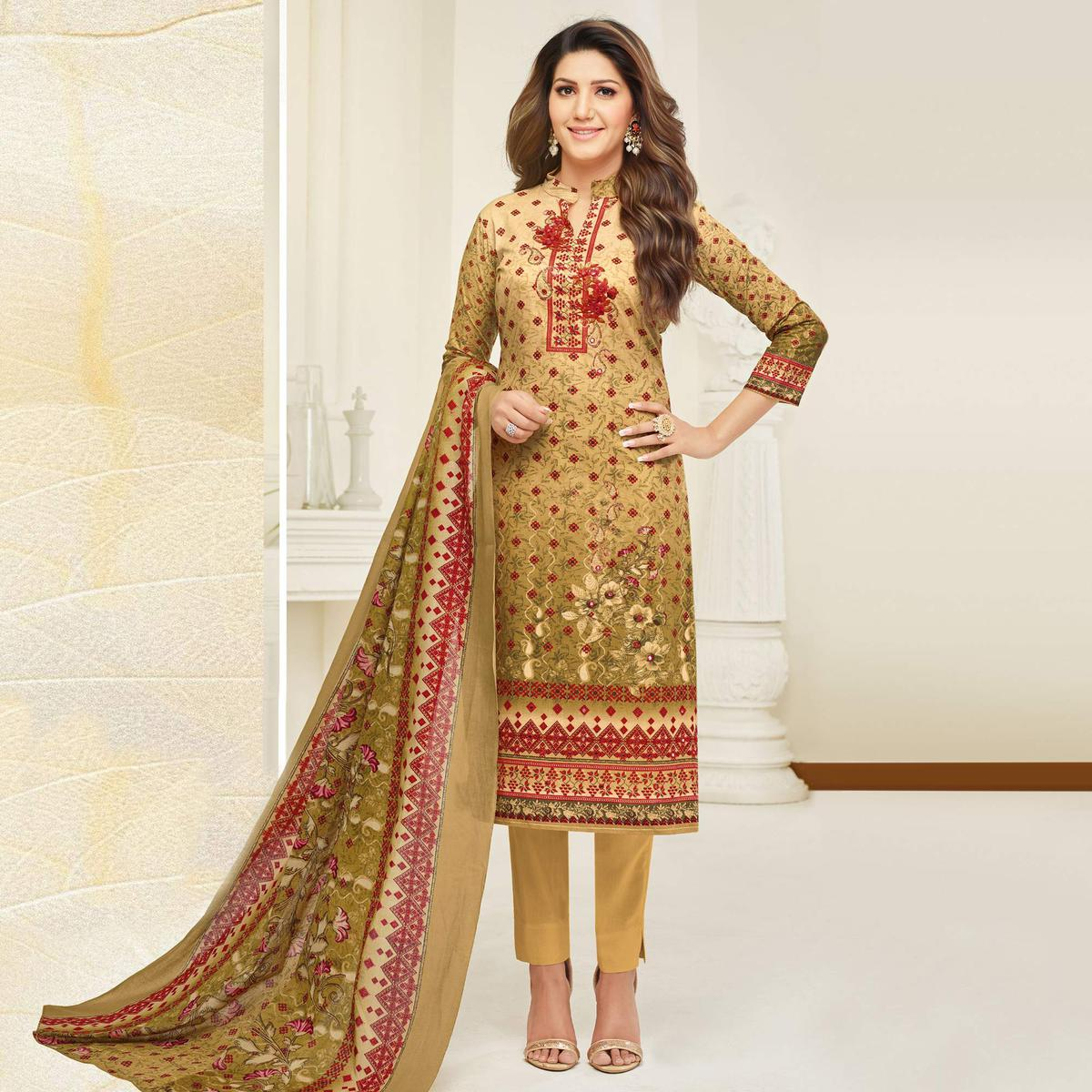 Mesmerising Beige Colored Casual Printed Cotton Dress Material