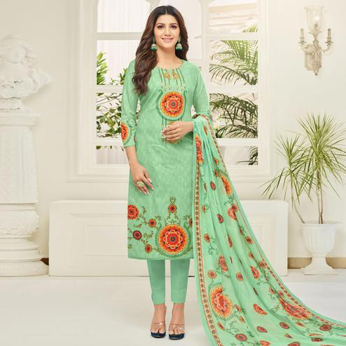 Pleasance Aqua Green Colored Casual Printed Cotton Dress Material
