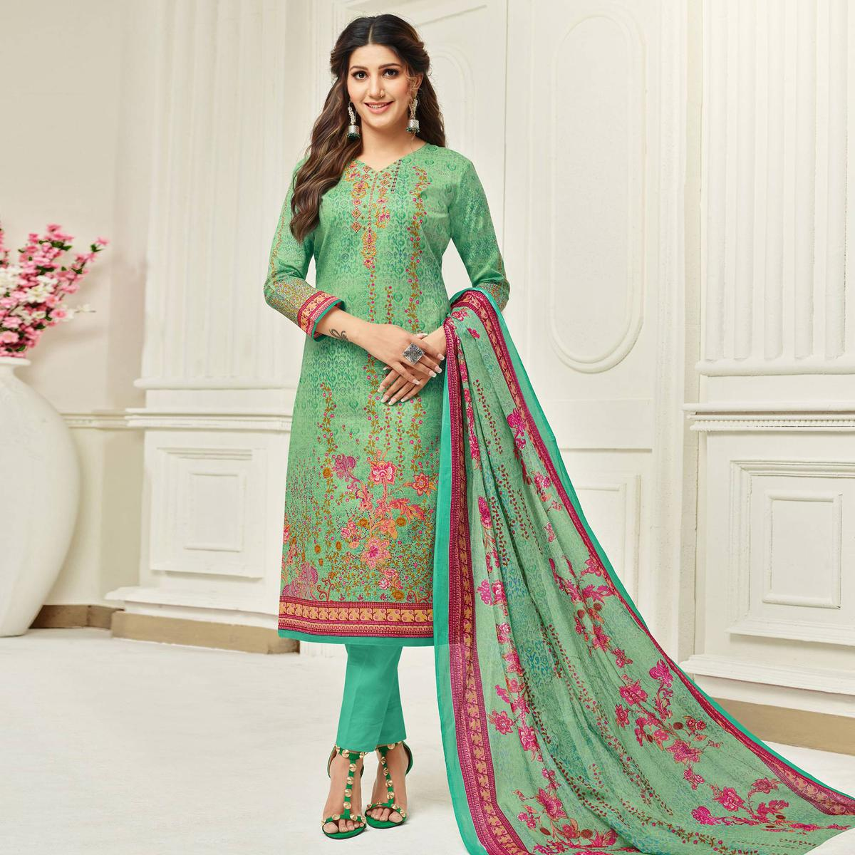 Ravishing Green Colored Casual Printed Cotton Dress Material