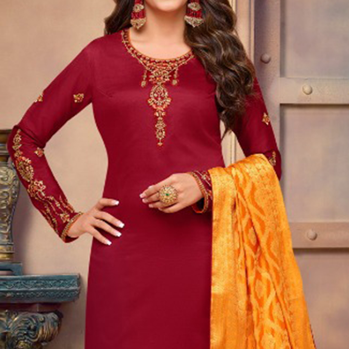 Pleasant Maroon Colored Partywear Embroidered Jam Cotton Suit With Banarasi Silk Dupatta