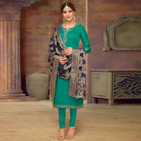 Opulent Turquoise Green Colored Partywear Embroidered Jam Cotton Suit With Banarasi Silk Dupatta