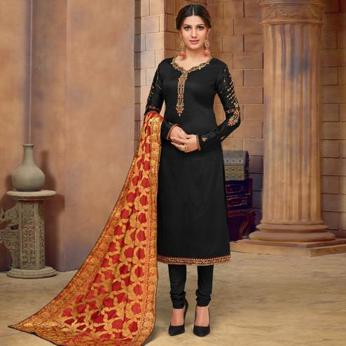 Energetic Black Colored Partywear Embroidered Jam Cotton Suit With Banarasi Silk Dupatta
