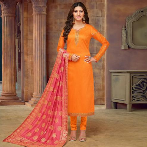 Glowing Orange Colored Partywear Embroidered Jam Cotton Suit With Banarasi Silk Dupatta