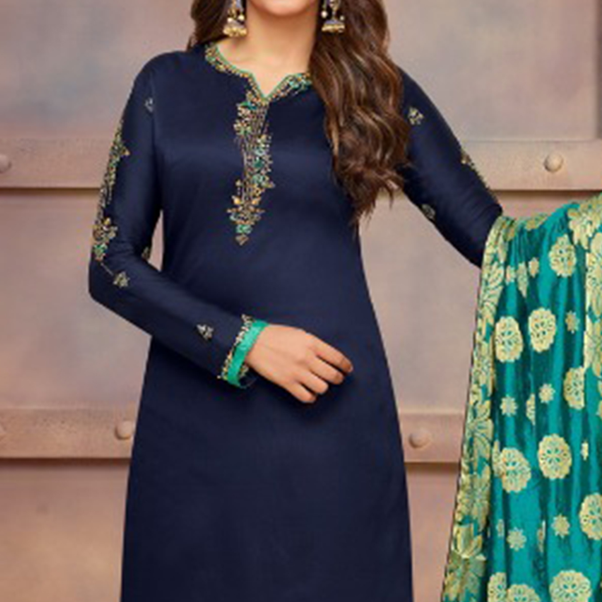 Exceptional Navy Blue Colored Partywear Embroidered Jam Cotton Suit With Banarasi Silk Dupatta