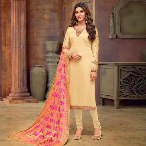 Gleaming Beige Colored Partywear Embroidered Jam Cotton Suit With Banarasi Silk Dupatta