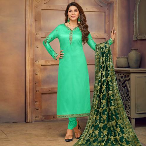 Mesmeric Aqua Green Colored Partywear Embroidered Jam Cotton Suit With Banarasi Silk Dupatta