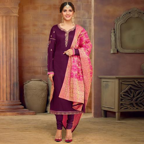 Unique Purple Colored Partywear Embroidered Jam Cotton Suit With Banarasi Silk Dupatta