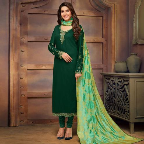 Demanding Dark Green Colored Partywear Embroidered Jam Cotton Suit With Banarasi Silk Dupatta