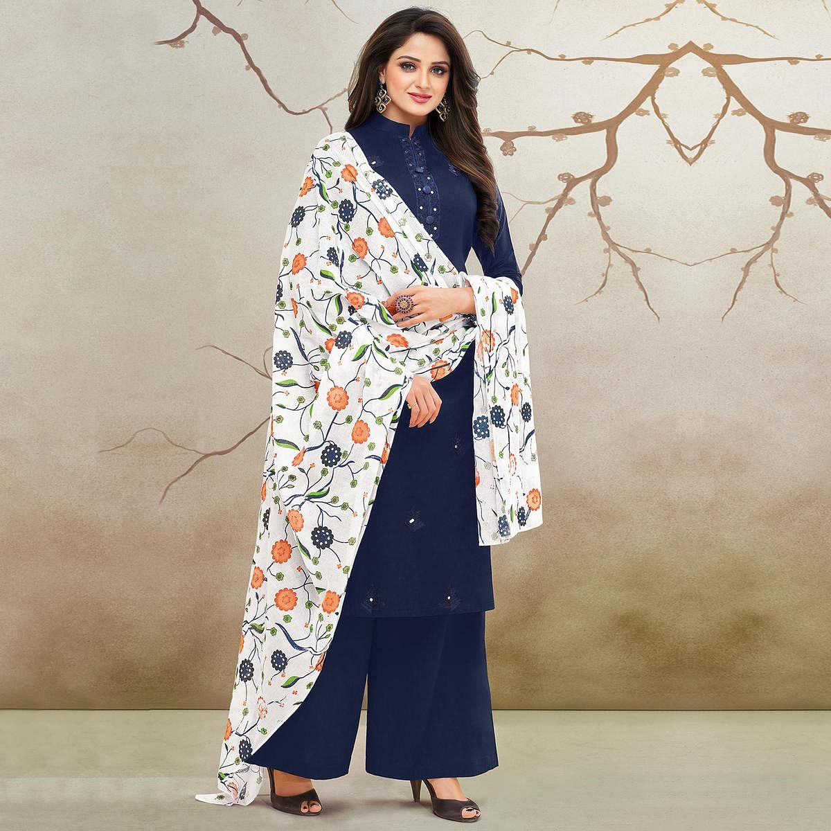 Innovative Navy Blue Colored Partywear Embroidered Pure Cotton Palazzo Suit