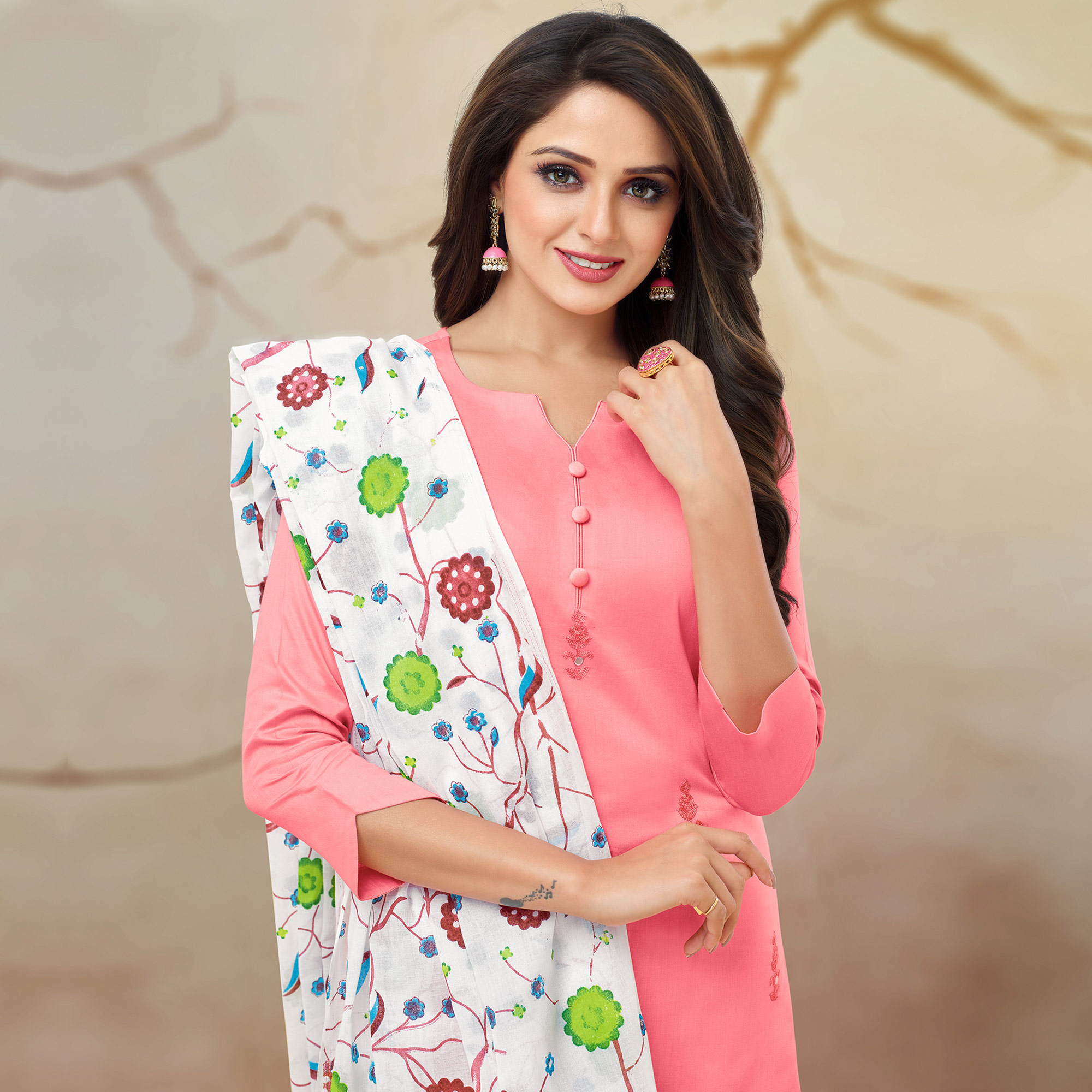 Eye-catching Pink Colored Partywear Embroidered Pure Cotton Palazzo Suit