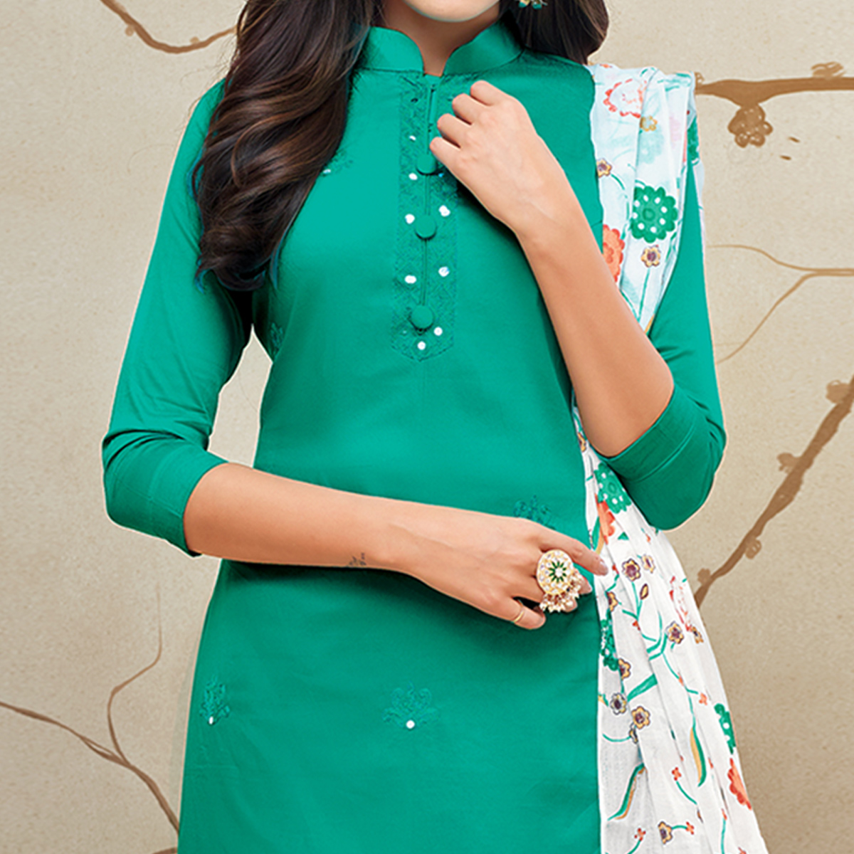 Fantastic Turquoise Green Colored Partywear Embroidered Pure Cotton Palazzo Suit