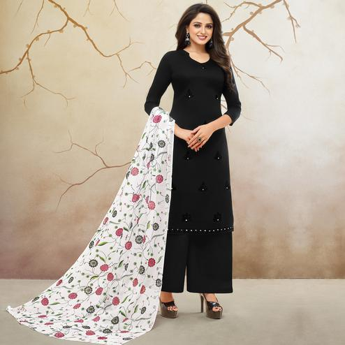 Amazing Black Colored Partywear Embroidered Pure Cotton Palazzo Suit