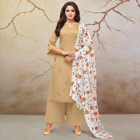 Gorgeous Beige Colored Partywear Embroidered Pure Cotton Palazzo Suit
