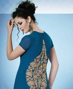 Blue Embroidered Work Kurti
