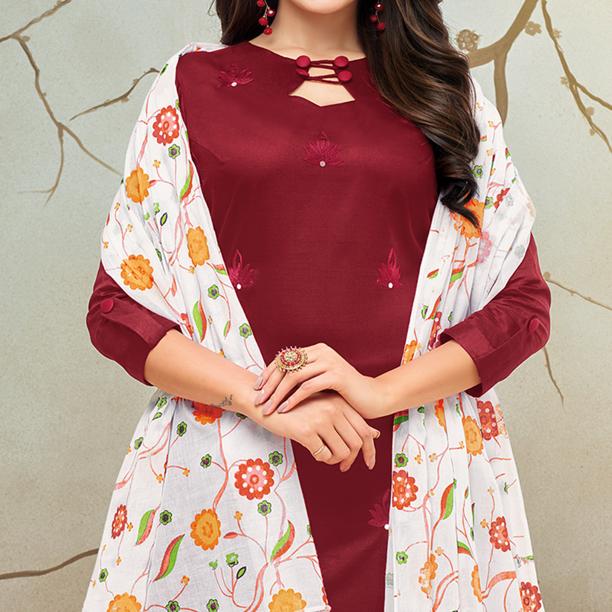 Blissful Maroon Colored Partywear Embroidered Pure Cotton Palazzo Suit
