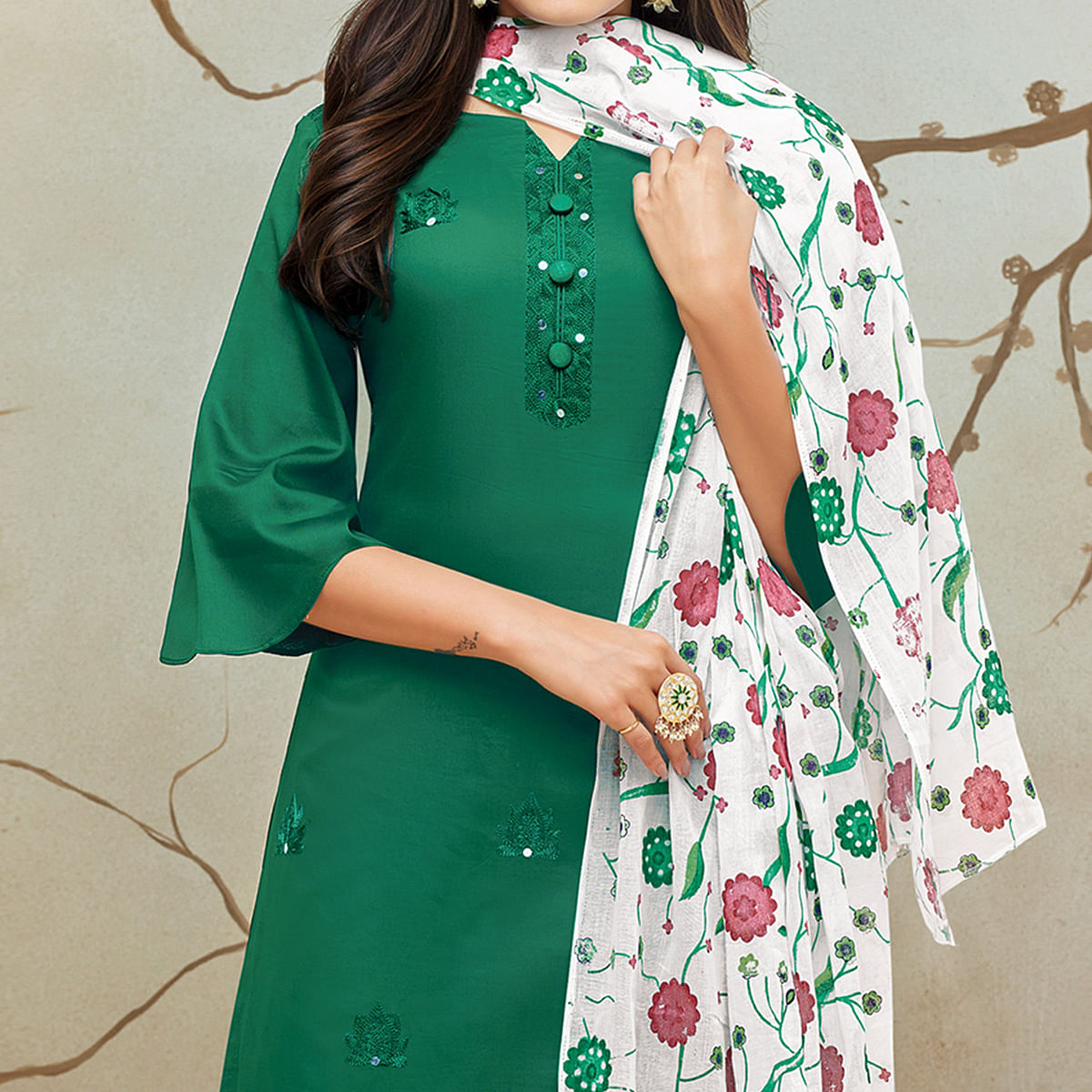 Magnetic Dark Turquoise Green Colored Partywear Embroidered Pure Cotton Palazzo Suit