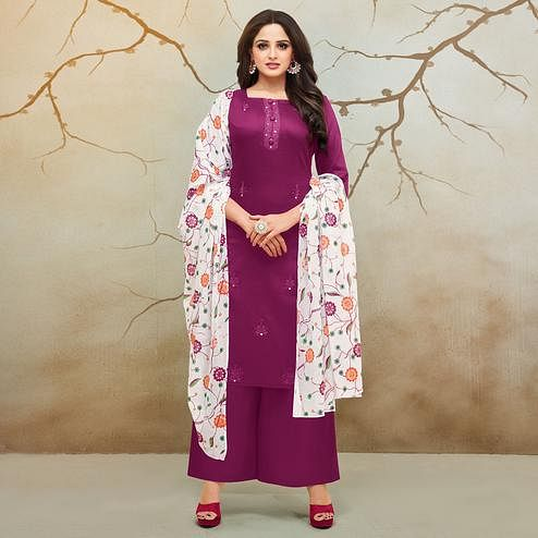 Hypnotic Magenta Pink Colored Partywear Embroidered Pure Cotton Palazzo Suit