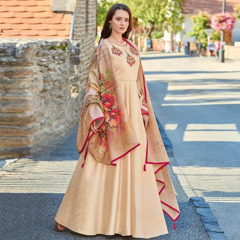 Magnetic Beige Colored Partywear Embroidered Art Silk Gown With Muslin Silk Dupatta