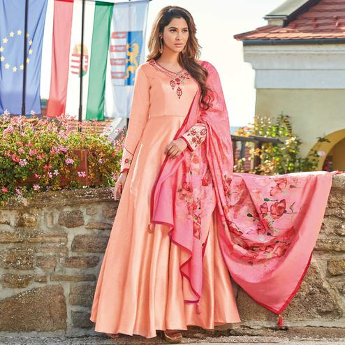 Excellent Peach Colored Partywear Embroidered Art Silk Gown With Muslin Silk Dupatta