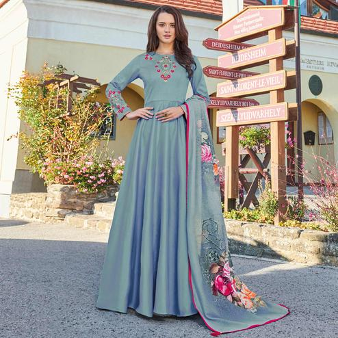 Preferable Bluish Gray Colored Partywear Embroidered Art Silk Gown With Muslin Silk Dupatta