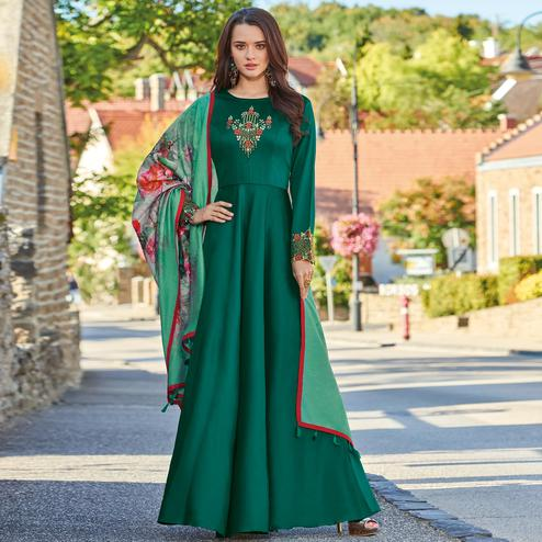 Flamboyant Teal Green Colored Partywear Embroidered Art Silk Gown With Muslin Silk Dupatta