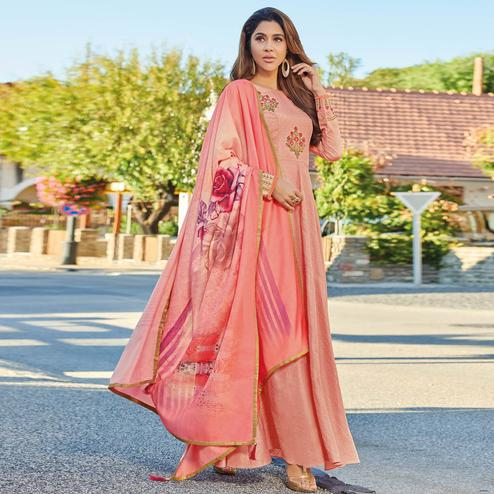 Glowing Pink Colored Partywear Embroidered Art Silk Gown With Muslin Silk Dupatta