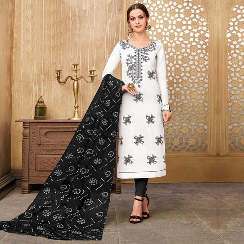 Beautiful White Colored Partywear Embroidered Pure Cotton Suit