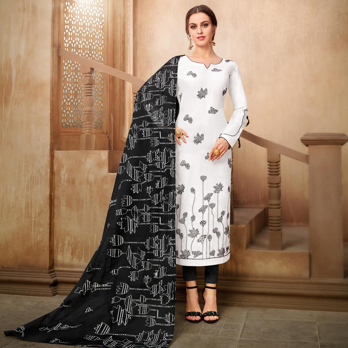 Elegant White Colored Partywear Embroidered Pure Cotton Suit