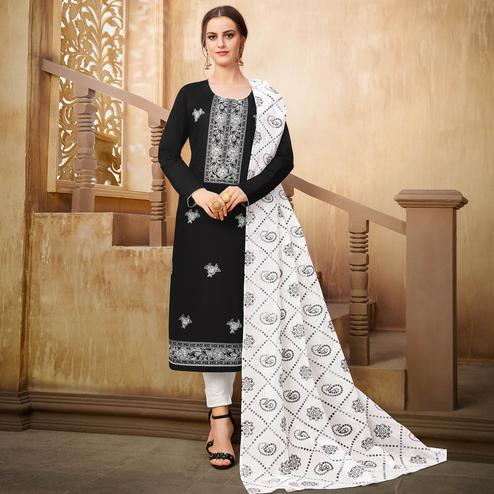 Radiant Black Colored Partywear Embroidered Pure Cotton Suit