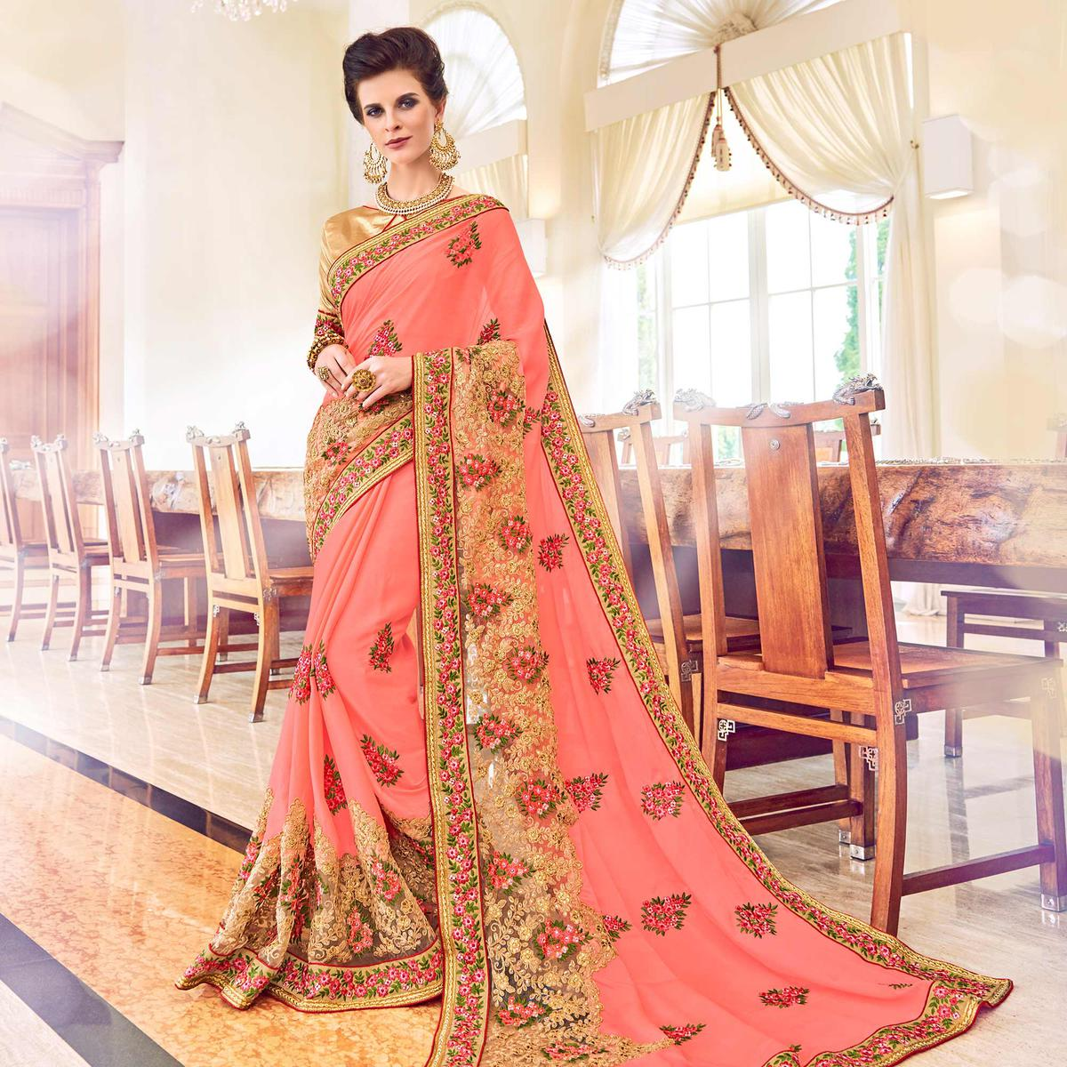 Beautiful Pink Colored Partywear Embroidered Chiffon Saree