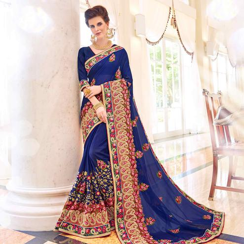 Graceful Navy Blue Colored Partywear Embroidered Georgette Saree