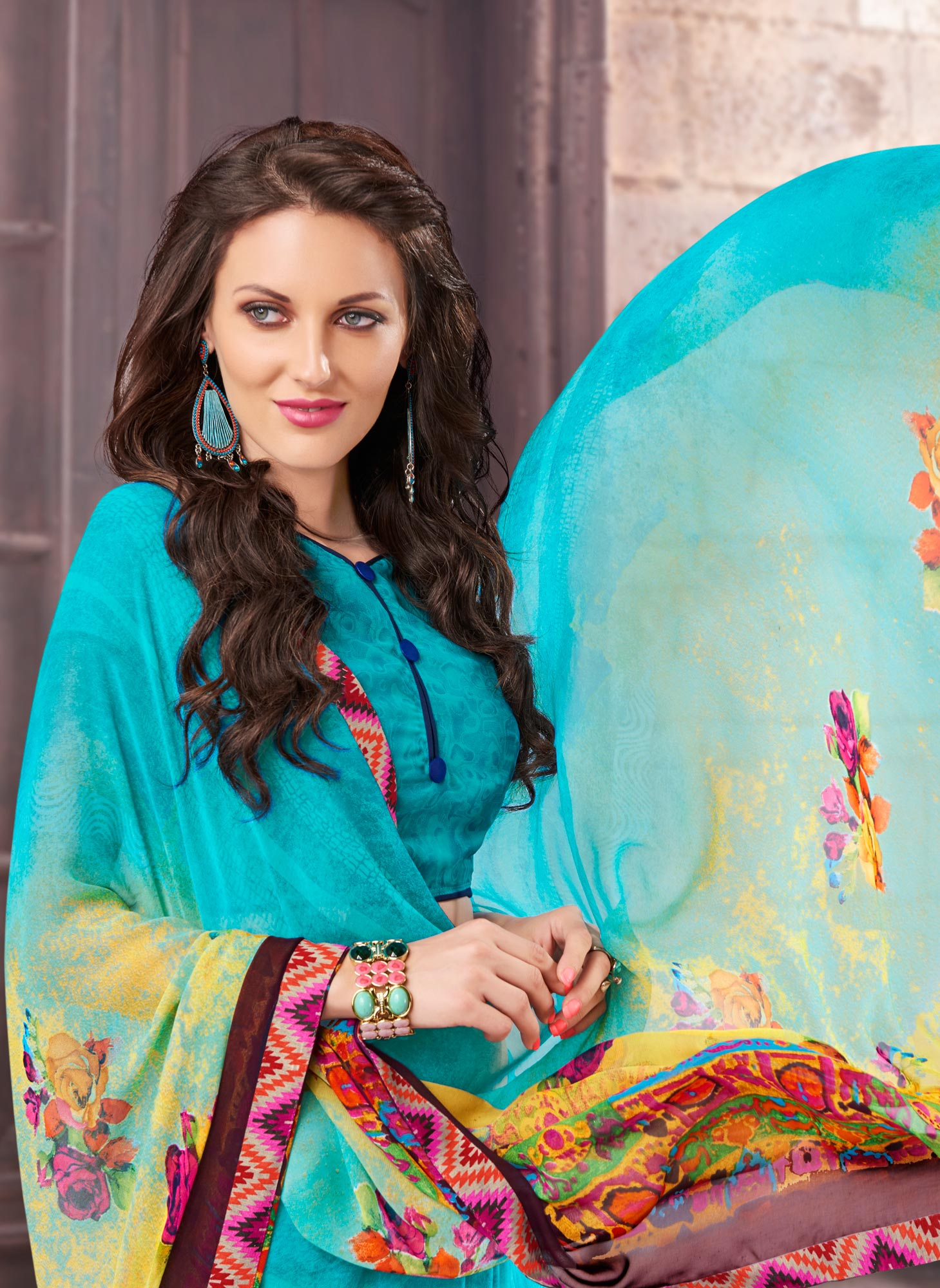 Aqua Blue Printed Georgette Saree