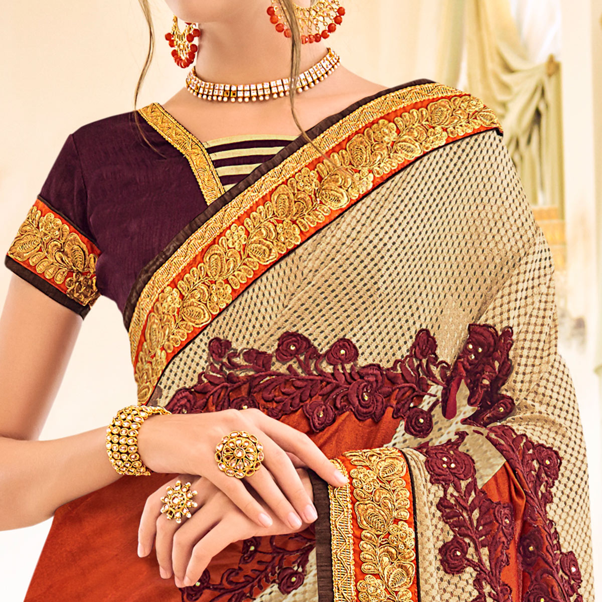 Charming Brown-Multi Colored Partywear Embroidered Art Silk-Georgette Saree