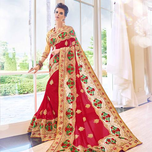 Jazzy Red Colored Partywear Embroidered Georgette Saree