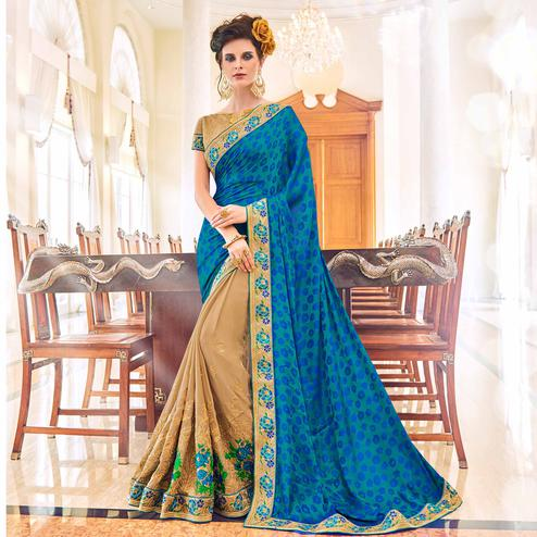 Engrossing Beige-Blue Colored Partywear Embroidered Jacquard-Georgette Saree