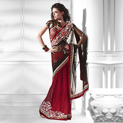 Shiny Red - Black Lehenga Style Saree
