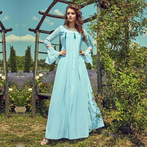 Appealing Sky Blue Colored Partywear Embroidered Georgette Gown