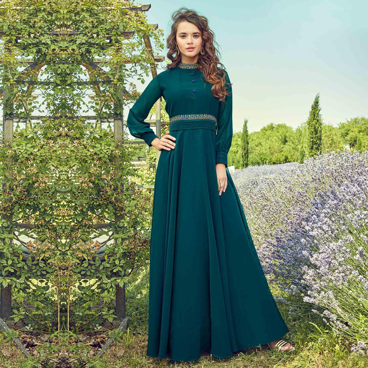 Capricious Teal Blue Colored Partywear Embroidered Georgette Gown