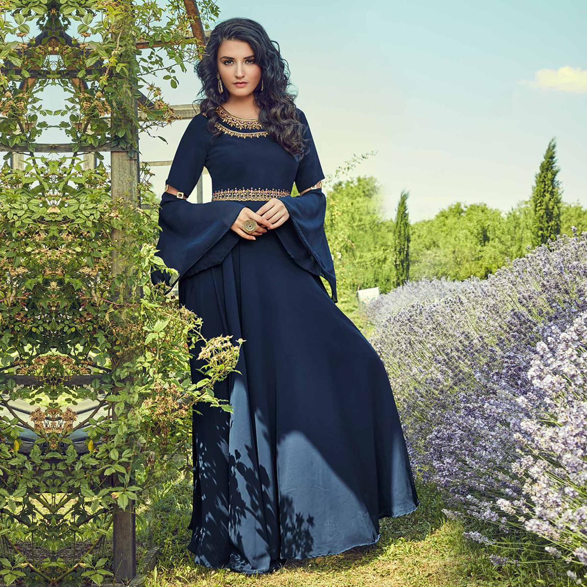 Groovy Navy Blue Colored Partywear Embroidered Georgette Gown