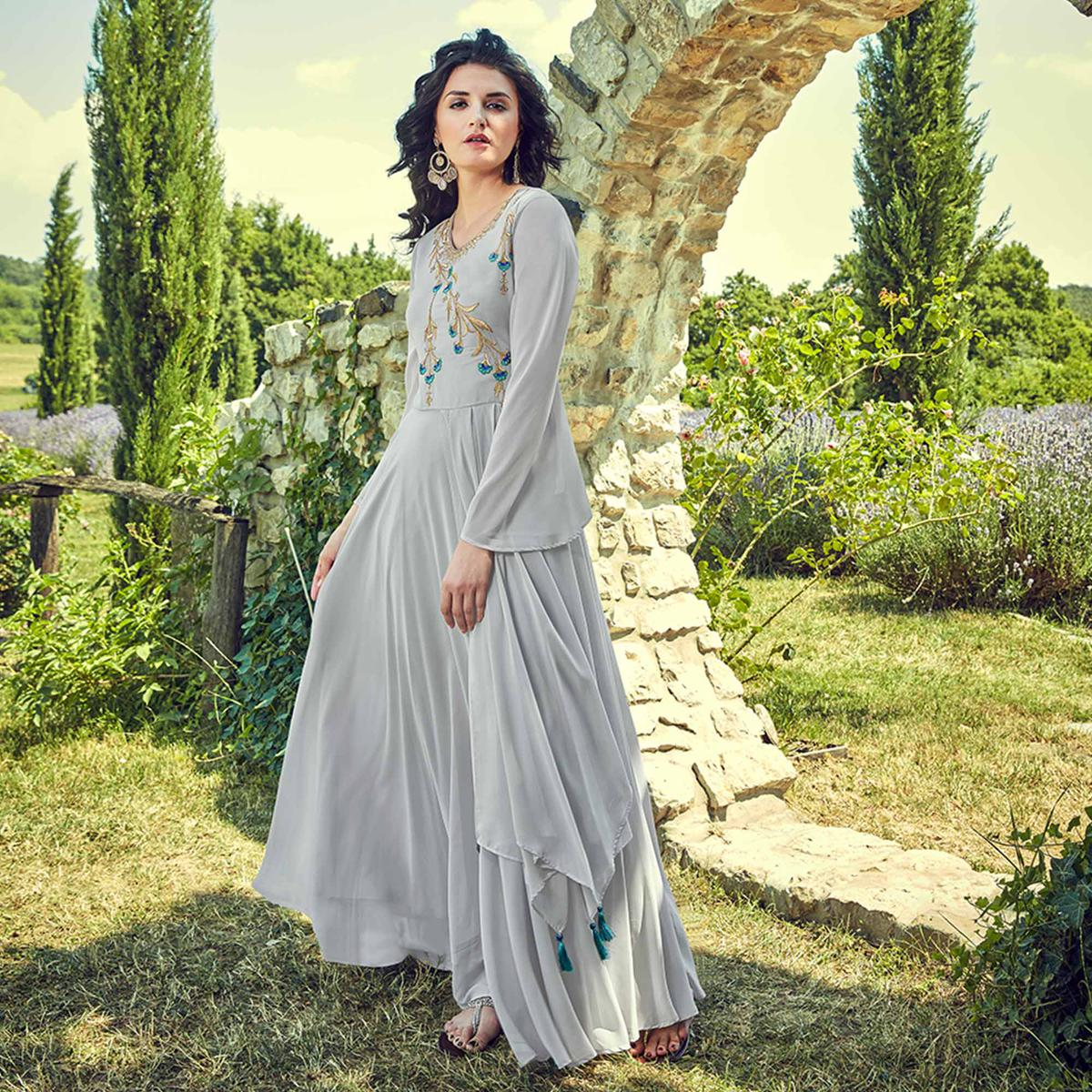 Prominent Light Grey Colored Partywear Embroidered Georgette Gown