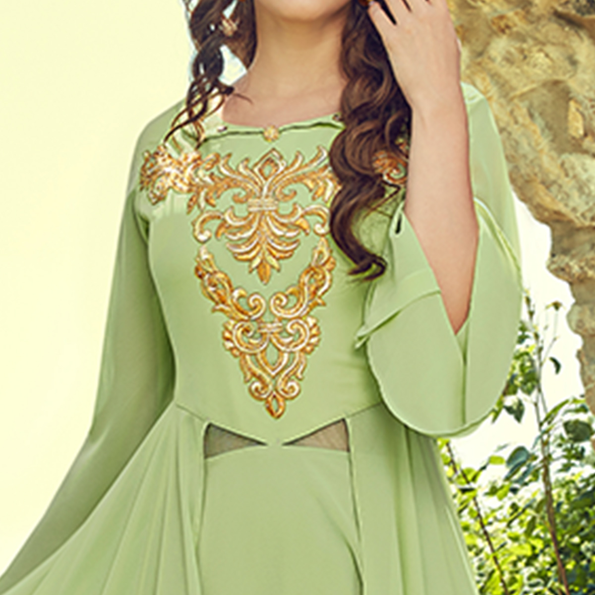 Radiant Pista Green Colored Partywear Embroidered Georgette Gown