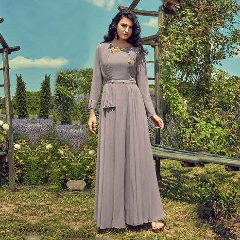 Pleasant Grey Colored Partywear Embroidered Georgette Gown