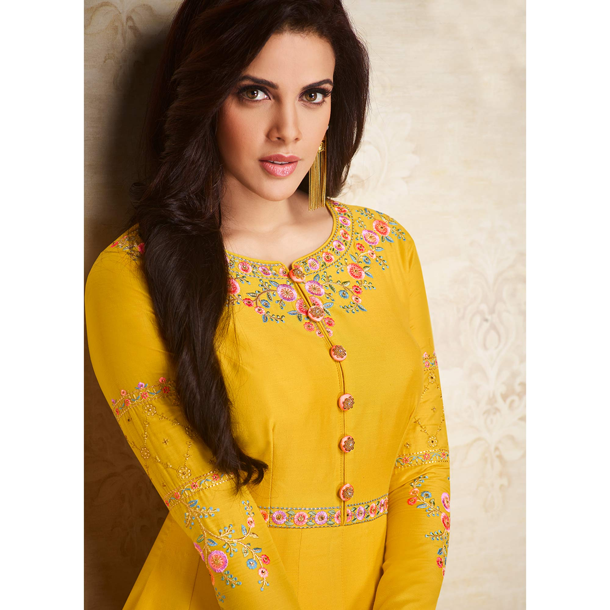 Delightful Yellow Colored Partywear Embroidered Cotton Silk Gown