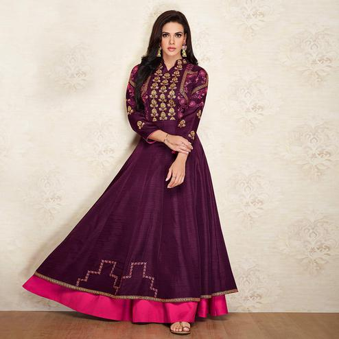 Engrossing Dark Purple Colored Partywear Embroidered Cotton Silk Gown