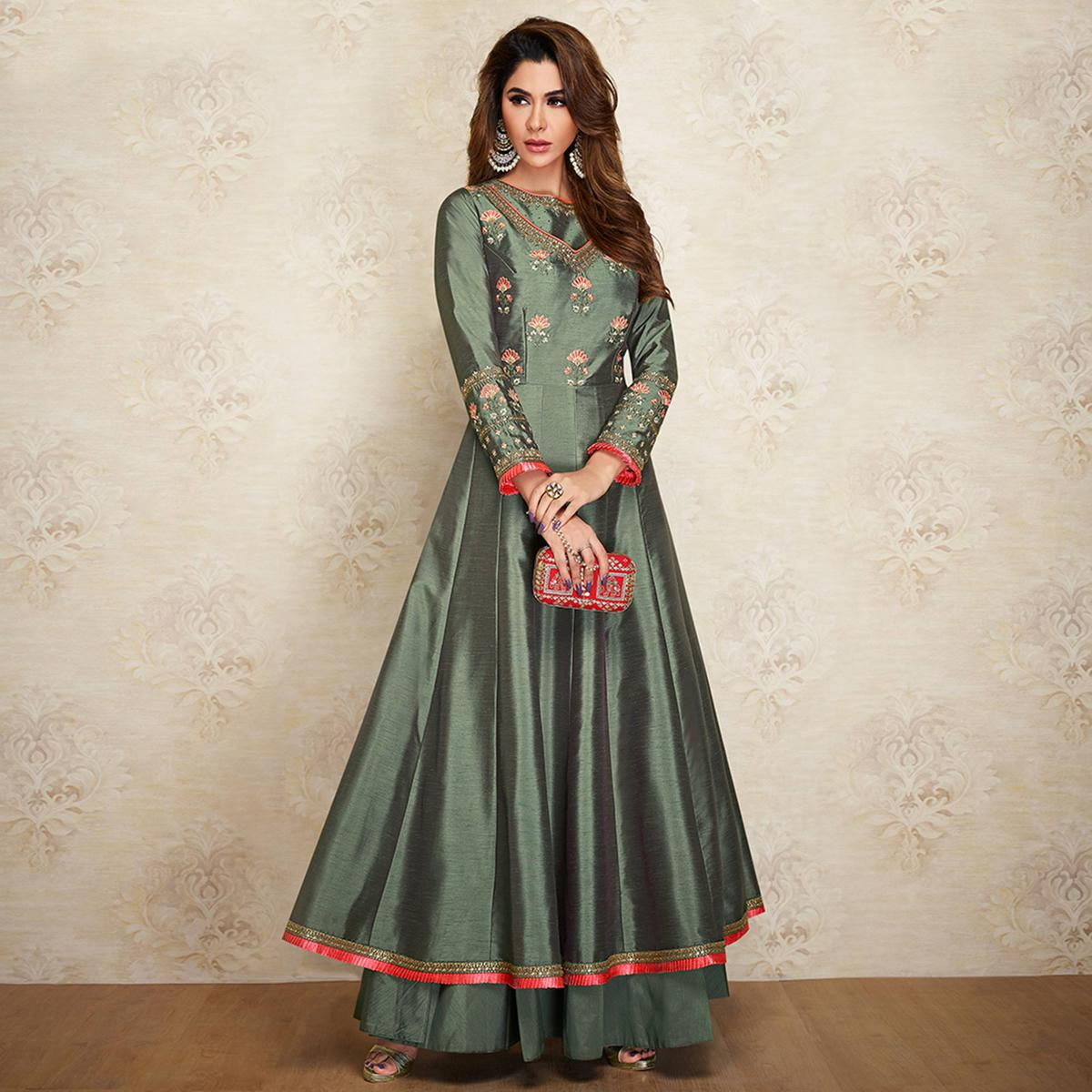 Innovative Greenish Grey Colored Partywear Embroidered Cotton Silk Gown