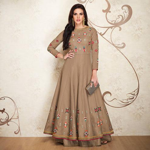 Eye-catching Chiku Colored Partywear Embroidered Cotton Silk Gown