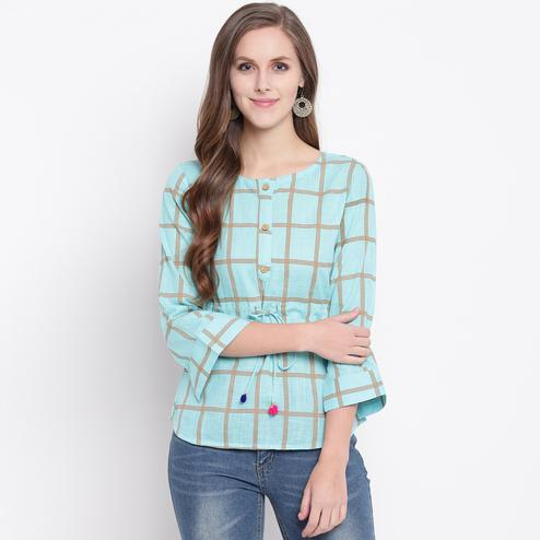 Elegant Light Blue Colored Casual Printed Cotton Western Top
