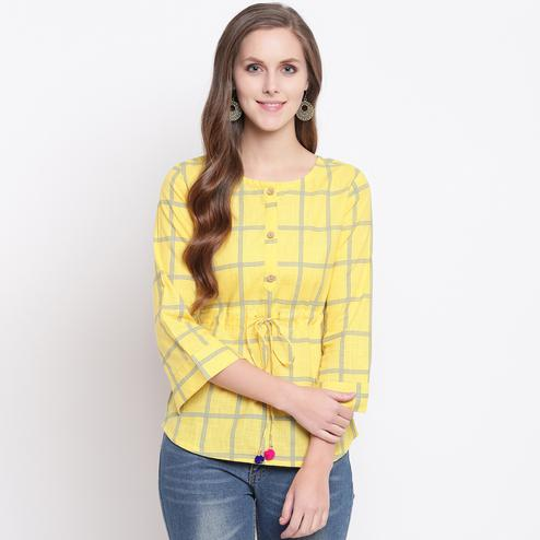 Radiant Yellow Colored Casual Printed Cotton Western Top